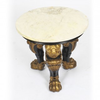 Antique Regency Revival Marble Top Occasional Table 19th Century