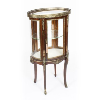 Antique Mahogany Ormolu Mounted Bijouterie Display Cabinet 19th Century