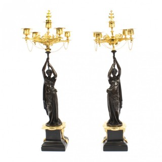 Antique Pair Patinated Bronze Figural Candelabra Jules Salmson 19th C