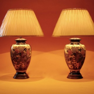 An Original and  Decorative Pair of Japanese Satsuma Vases now Fitted as Table Lamps