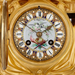 Sèvres style gilt bronze mounted porcelain clock set by Sévin and Barbedienne