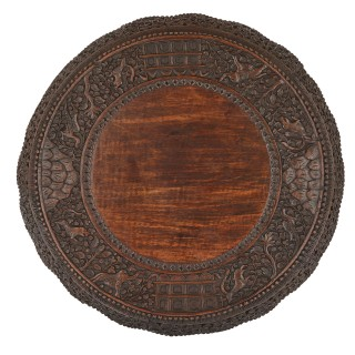 Antique carved hardwood circular side table with rosewood top, Myanmar