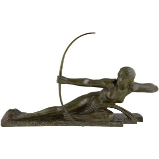 Impressive Art Deco Bronze Sculpture Nude With Bow Penthesilia