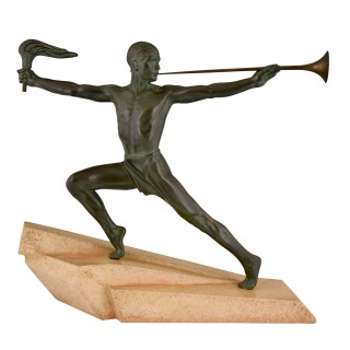 Art Deco Sculpture Male Nude With Trumpet And Torch