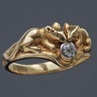 RENÉ BOIVIN (1864-1917) Charming Mouse Ring