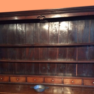 18th century Welsh oak dresser and shelves
