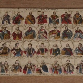 Antique 19th Century 37 Piece Double Sided Wooden Jigsaw