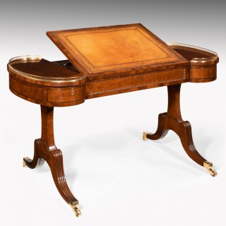 Rare Regency Fiddleback Mahogany Writing Table Gillows