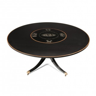 Large 5 1/2 Feet Circular Mid-20thC Ebonised, Gilt and Painted Dining Table