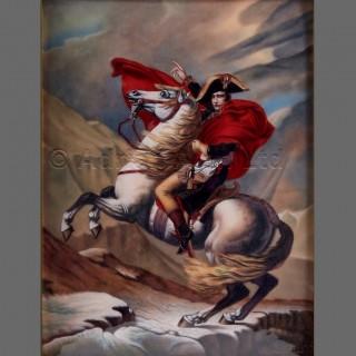 An Enamel Plaque Depicting Napoleon Crossing The Alps