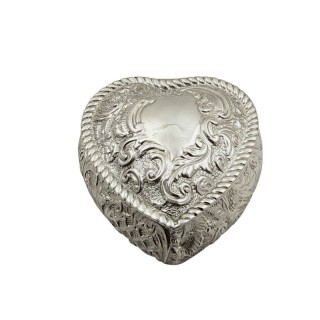 Antique Edwardian Sterling Silver Heart Trinket Box 1902