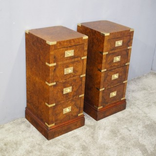 Pair of Campaign Style Burr Walnut Bedsides