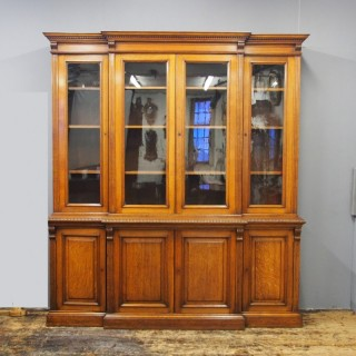 Victorian Oak 4 Door Breakfront Bookcase