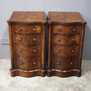 Pair of Victorian Burr Walnut Bedsides or Lockers