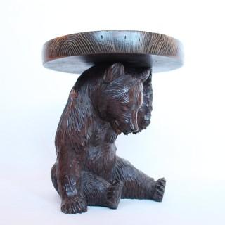 Black Forest Carved Bear Bottle Stand