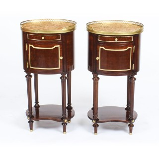 Antique Pair Parquetry & Ormolu Mounted Bedside Cabinets 19th C