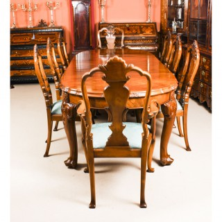 Antique Edwardian Queen Anne Revival Dining Table & 8 Chairs c.1900