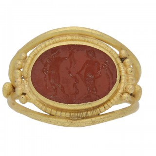 Ancient Roman Apollo and Salus intaglio ring, circa 3rd-4th century AD.