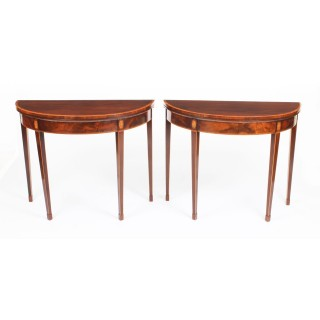 Antique Pair George IV Flame Mahogany Console / Card Tables 19th Century