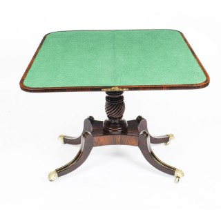 Antique Regency Rosewood Brass Inlaid Card Table c.1820 19th C
