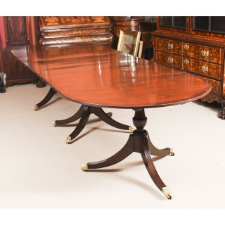 Antique Regency Revival Mahogany 3 pillar Dining Table 19th Century