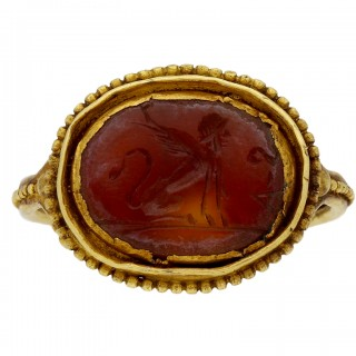 Ancient Roman Sphinx intaglio ring, circa 1st-2nd century AD.