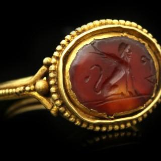 Ancient Roman Sphinx intaglio ring, circa 1st-2nd century AD.