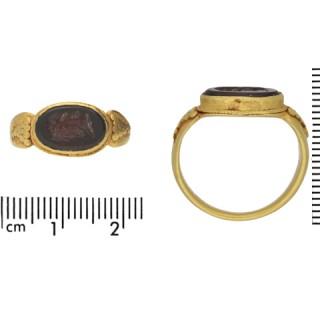 Ancient Roman Jupiter intaglio signet ring, circa 1st -3rd century AD.