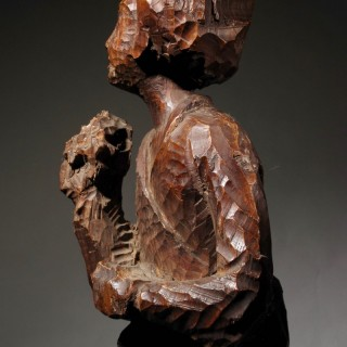 Japanese Wooden Sculpture of a Geisha