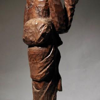 Japanese Wooden Sculpture of a Geisha