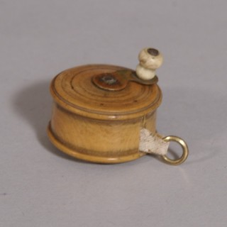 Antique Treen 19th Century Boxwood Tape Measure