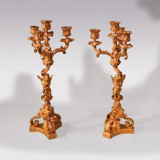 Pair Of Mid 19th Century Ormolu 4-Light Cherub Candelabra