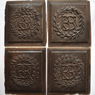 Set of Four 17th century Oak Panels with Initials
