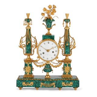 Louis XVI period gilt bronze mounted malachite mantel clock
