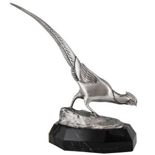 Art Deco bronze sculpture of a pheasant