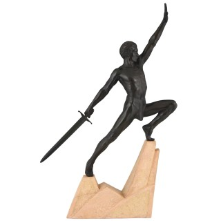 Art Deco sculpture sword fighter on a rock, the challenge