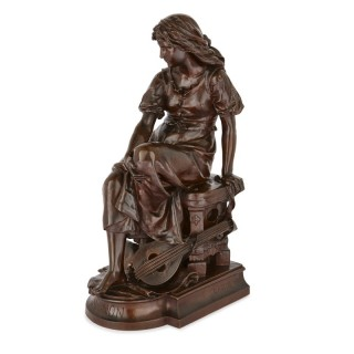 'Mignon', bronze sculpture of a young woman by Aizelin