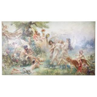 'Happy Arcadia' large mythological oil painting by Makovsky