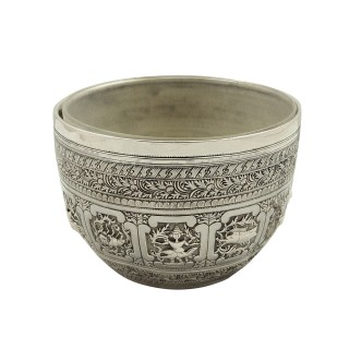 Antique Victorian Sterling Silver Bowl with Liner 1866