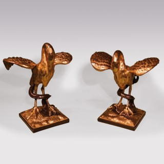 Pair Of Mid 19th Century Ormolu Herons With Bronze Salamanders