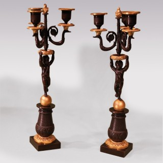 Pair Of Early 19th Century Bronze And Ormolu 3-Light Cherub Candelabra