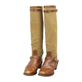 Canvas and Leather Field Boots