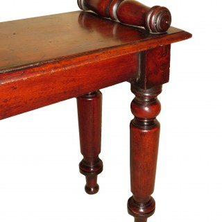 English 19th Century Antique Mahogany Window Seat Hall Bench