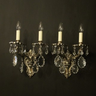 Italian Pair Of Silver Antique Wall Lights