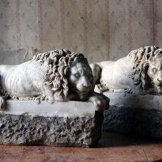 A Pair of 19thC Stone Lions; After Antonio Canova (1757-1822)