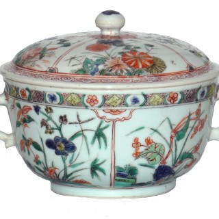 Chinese  Famille Verte Rounded Lidded Bowl
