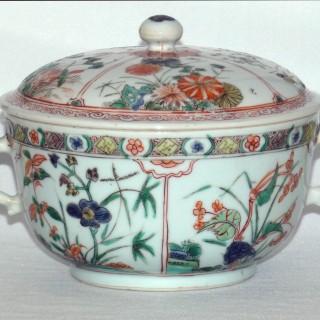 Chinese  Famille Verte Rounded Lidded Bowl