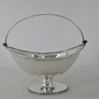 Nice George III silver beaded swing handled basket London 1795 Solomon Hougham