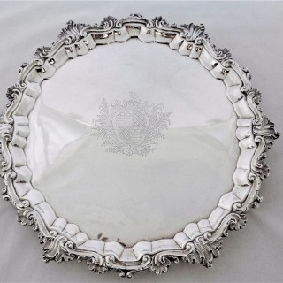 Super armorial George II silver salver London 1749 William Peaston