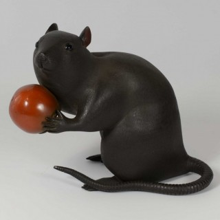 LARGE JAPANESE BRONZE RAT WITH PERSIMMON OKIMONO- SIGNED